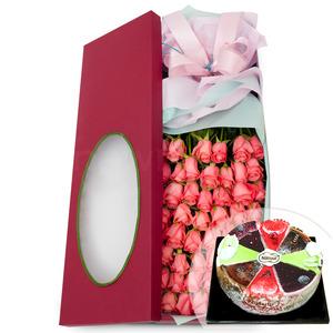 핑크장미꽃박스+케익 57V