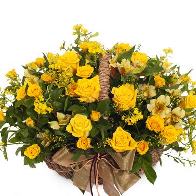 노랑혼합꽃바구니 B212