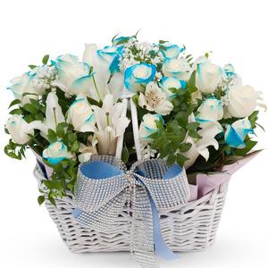 파랑장미혼합꽃바구니 B160