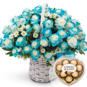 파란마음100송이(초콜렛포함) N68