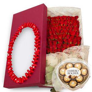 100송이꽃박스+초콜렛 56N