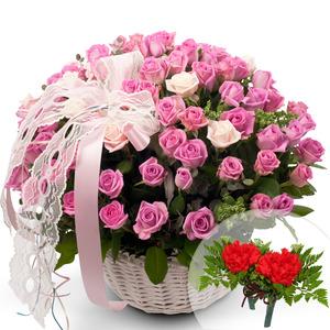 핑크100송이꽃바구니+코사지