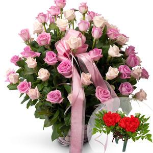 핑크혼합꽃바구니+코사지