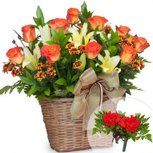 주황장미혼합꽃바구니+코사지