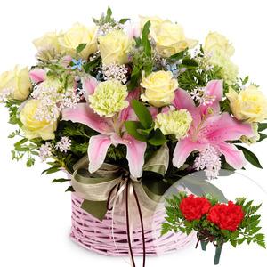 옐로우혼합꽃바구니+코사지