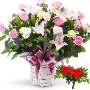 장미혼합꽃바구니+코사지