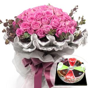 핑크장미다발+케익 44V