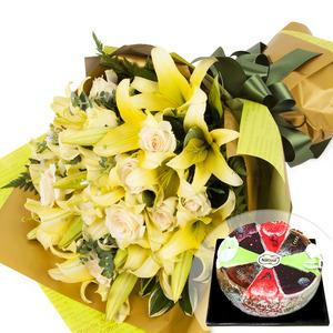 옐로인장미꽃다발+케익 68C